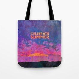 Celebrate Summer Sunset Scene Watercolor Painting Tote Bag