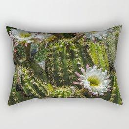 White Cactus Blossoms Rectangular Pillow