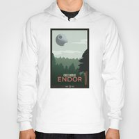 travel poster Hoodies featuring Endor Travel Poster by Tawd86