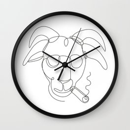 Billy Goat Wearing Sunglasses Cigar Continuous Line Wall Clock