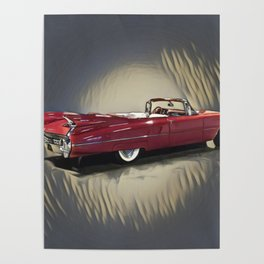 Classic 1959 Red Cadillac Convertible Poster