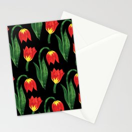 Hand painted orange yellow green watercolor tulips pattern Stationery Cards