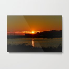 Sunset Over Columbia River At Astoria Harbor Metal Print