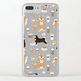 Shiba Inu coffee dog breed pet friendly pet portrait coffees pattern dogs Clear iPhone Case