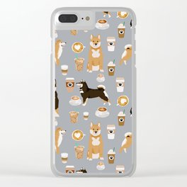 Shiba Inu coffee dog breed pet friendly pet portrait coffees pattern dogs Clear iPhone Case
