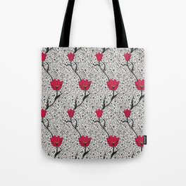 Art Nouveau Tulip Damask, Grey / Gray and Red Tote Bag