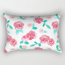 Watercolor Floral Rose Garden Rectangular Pillow