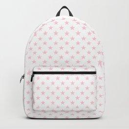 Light Soft Pastel Pink Stars on White Backpack