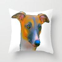greyhound Throw Pillows featuring Greyhound by Marlene Watson