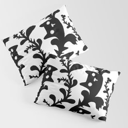 Spooky cat plant growing with thorns pattern black and white Pillow Sham