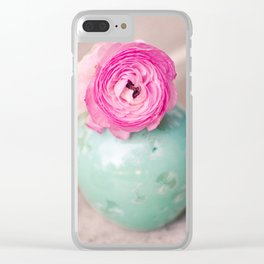 Hot pink ranunculus flowers mint green vintage 1 Clear iPhone Case
