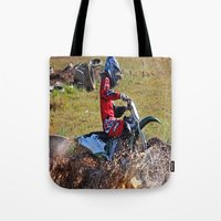 moto Tote Bags featuring Moto Cross by Lone Wolf Photography