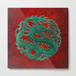 Wooden Jade Dragon Carving on Red Background Metal Print