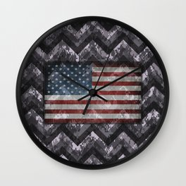 Periwinkle Purple Digital Camo Chevrons with American Flag Wall Clock