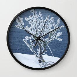 Small frosty tree at the lake Wall Clock