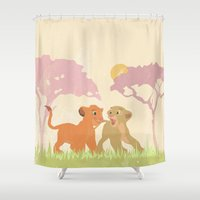 lions Shower Curtains featuring two lions..  by studiomarshallarts