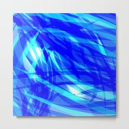 Vector glowing water background made of blue sea lines. Metal Print