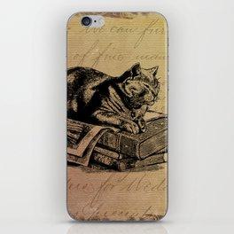 Vintage Cat Collage-Grunge Background iPhone Skin