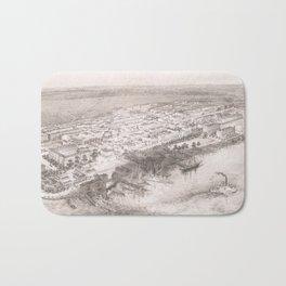 Vintage Pictorial Map of Hoboken NJ (1860) Bath Mat