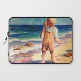 Watercolor Boy with Seashell Laptop Sleeve