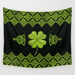 Irish Shamrock Four-leaf clover with celtic decor Wall Tapestry