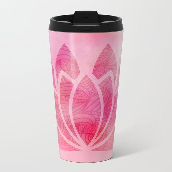 Watercolor Lotus Flower Yoga Zen Meditation Metal Travel Mug