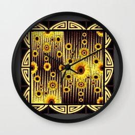 ART DECO GOLDEN SUNFLOWERS DARK GREY-BLACK Wall Clock