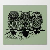 animals Canvas Prints featuring Owls of the Nile by Rachel Caldwell