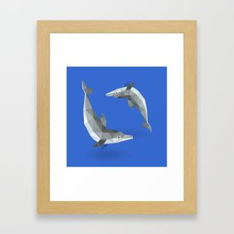 Low Polygon Dolphins Framed Art Print