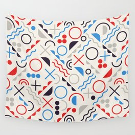 Seamless Jumble Shapes in Blue Red White Color Geometric Retro Pattern  Wall Tapestry