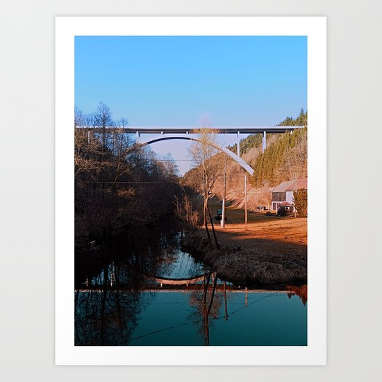 A bridge, the valley and beautiful reflections | Architectural photography Art Print