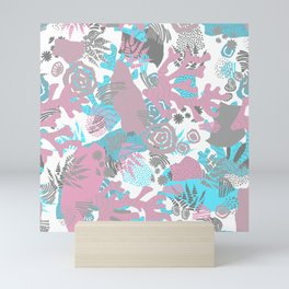 Artistic nautical teal pink gray coral floral pattern Mini Art Print