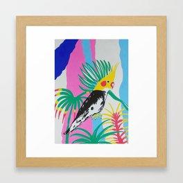 Happy Cockatiel Parakeets Framed Art Print