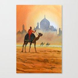 Camel Riders Alongside the Taj Mahal Canvas Print