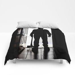Bad Man at door in silhouette with axe Comforters