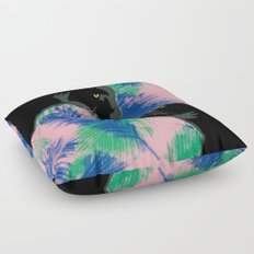 Panthers with palm leaves Floor Pillow
