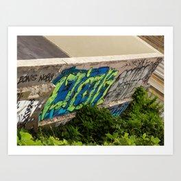Wall Graffiti with Plants Art Print