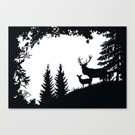 Stag and Deer in the Forest Canvas Print