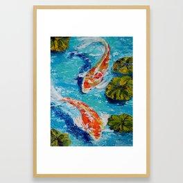 Koi in Acrylic Finger Painting Framed Art Print