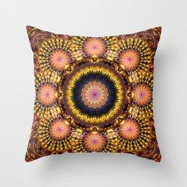 Golden Star Burst Mandala Throw Pillow