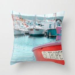 Nautical Travel Print | Blue, Teal, Turquoise Clear Sea, Ocean | Boats, Harbor, Seascape Europe Throw Pillow