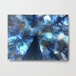 Blue forest, dark sky view, abstract spooky artwork, sad winter trees, dark blue colors nature theme Metal Print