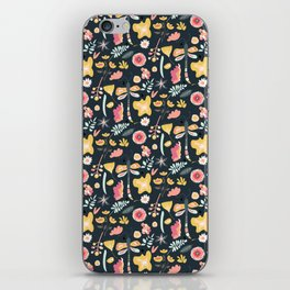 Abstract pink yellow coral hand painted floral butterfly pattern iPhone Skin