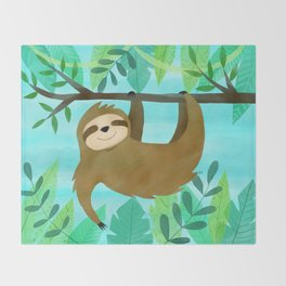 Cute Sloth Throw Blanket