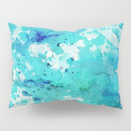 Artistic blue teal hand painted watercolor abstract pattern Pillow Sham