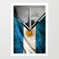 argentina Art Prints featuring Flags - Argentina by Ale Ibanez