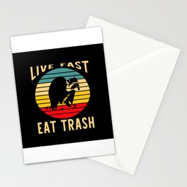 Live Fast Eat Trash Raccoon Camping Stationery Cards