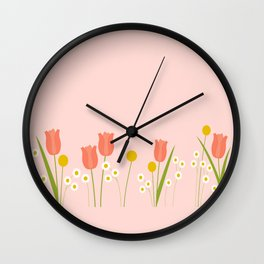 Pale Pink Light Orange Spring Flowers Wall Clock