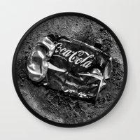 coca cola Wall Clocks featuring 'Coca-cola' by Dwayne Brown
