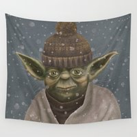 yoda Wall Tapestries featuring Christmas Yoda by Lime